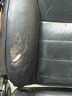 how to fix a hole in a leather car seat. Black Bedroom Furniture Sets. Home Design Ideas