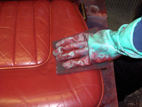 How to change the colour of leather car seats - Prepping the leather seat