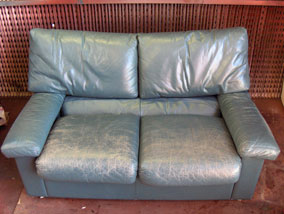 Worn Blue Leather Sofa