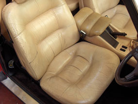 Maserati Car Interior Before Leather Restoration